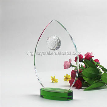 New design Optical K9 Crystal Material Golf Trophy award plaques for business gift
