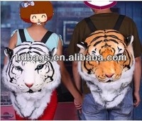 Newest tiger head fake feather fashion pack back/backpack