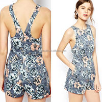 Hot sex woman pictures in fashion summer floral bodycon jumpsuit