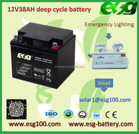 12V 38AH maintenance free High Efficiency Best Price Rechargeable lead acid solar Battery