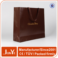 Hot stamping paper fashionable design gift bag with logo gold foiled
