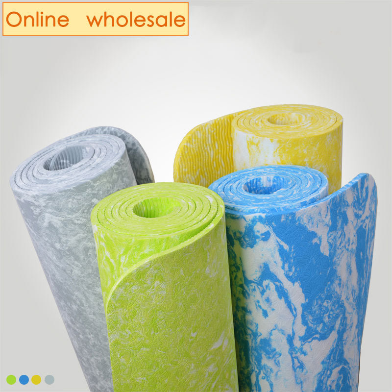 free shipping 9pcs/lot 6mm TPE <strong>eco</strong> friendly anti slip yoga mat big size 185*62 cm with carry strap easy washable sport mat
