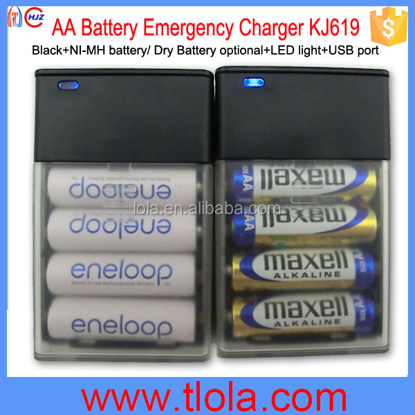 Cheapest AA Battery Emergency Charger with 4pcs For iPhone Samsung Smartphone