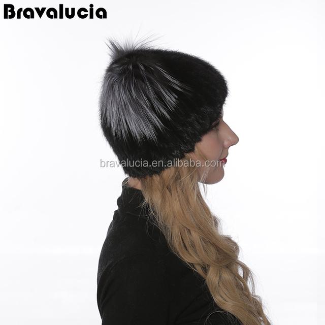 Wholesale Custom Fashion Best Women Hat Handmade Mink Fur Winter Hat with flower