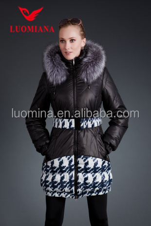 Fancy printing fabric winter jackets for women