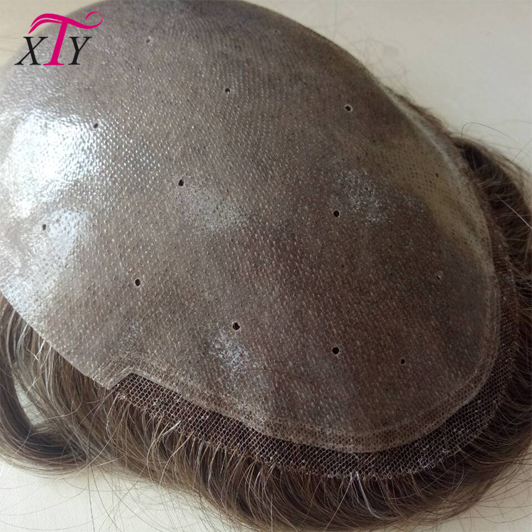 In Stock 100% Real Human Hair Men's Toupee, Dark Brown Skin Base Curly Toupee For Men