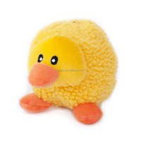 Yellow Chicken Round Squeaky Plush Dog Toy