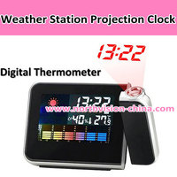 Digital projector clock with weather station function