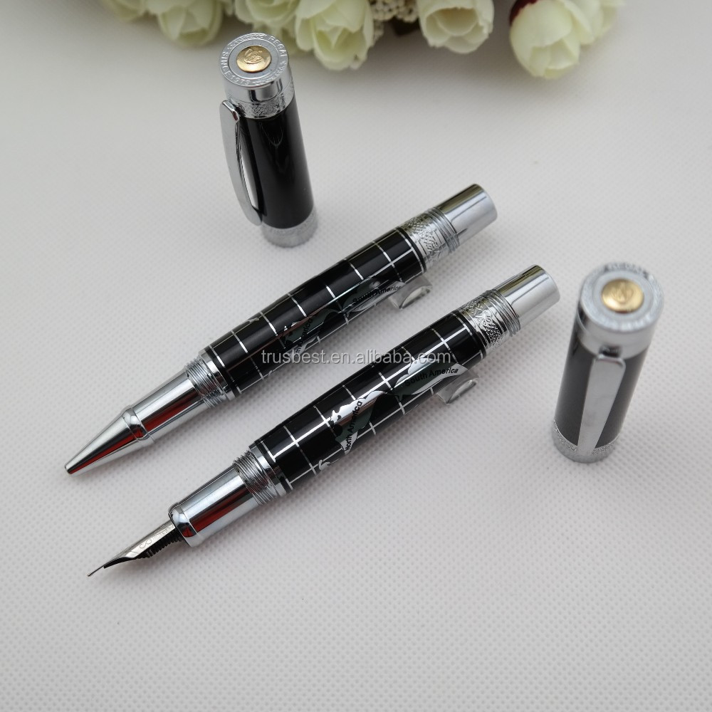 Luxury metal ball pen , Regal luxury high quality roller pen with World Map
