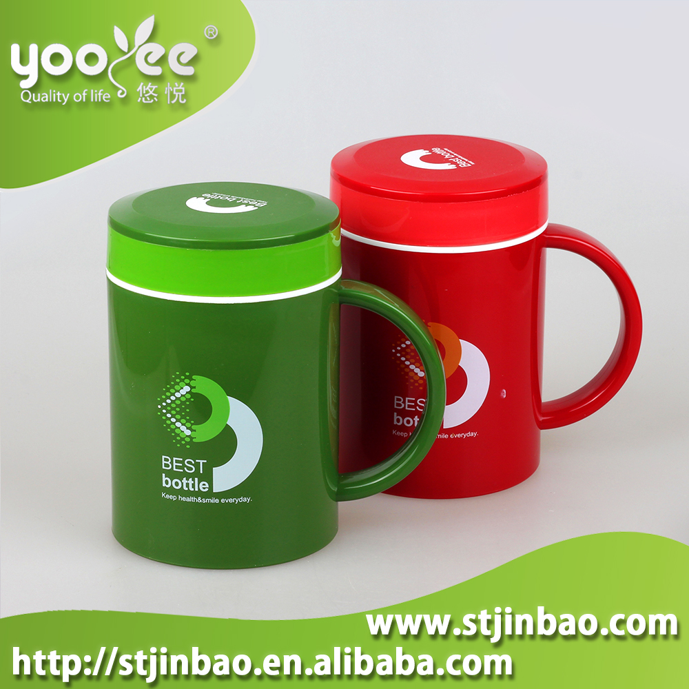 Promotional Gift Double Layer Plastic Cup with Handle
