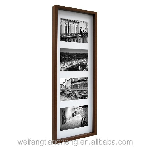 Traditional gallery wood display box picture frames with quality mat custom bulk