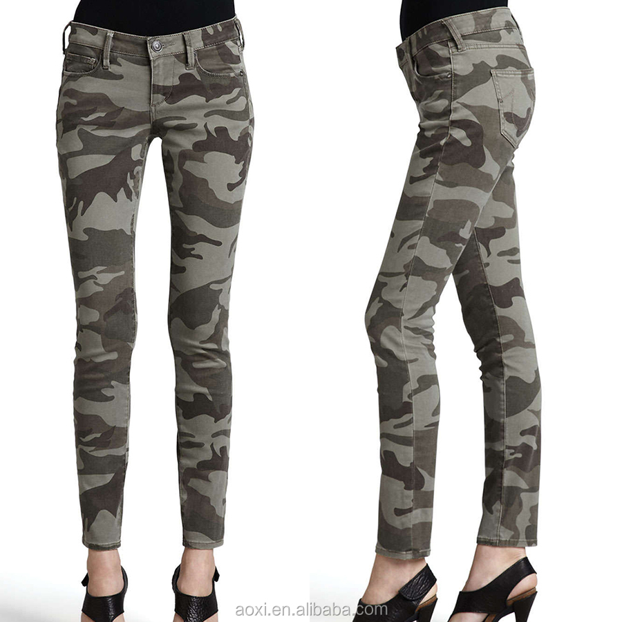 Camouflage slim girls new model cool style women pants