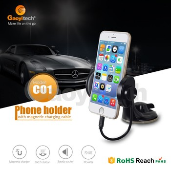 New fashion design car window holder with magnetic charging cable