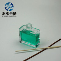 Hot selling empty square fragrance diffuser glass perfume bottle with rattan sticks