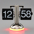 metal retro flip table clock with sounds control led table lamp with clock