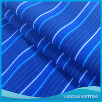 95%Polyester 5%spandex t/sp dark blue 4 way stretch knitted fabric printed stripes for sportwear