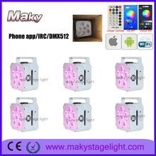 6Light+carton box 6*18W RGWAUV WIFI Phone APP Smart par Can wireless dmx battery operated led wash uplight for wedding DJ event