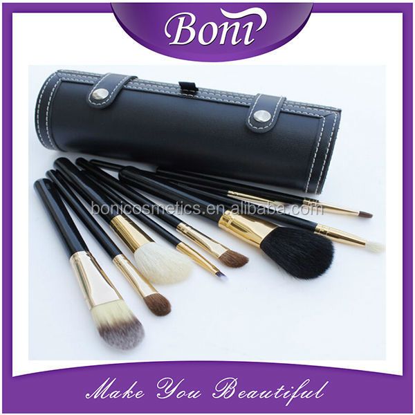2015 New Arrival Hot Sales 9pcs Set Wool Cosmetic Brush Make up Tool Kit Leather Pouch Case