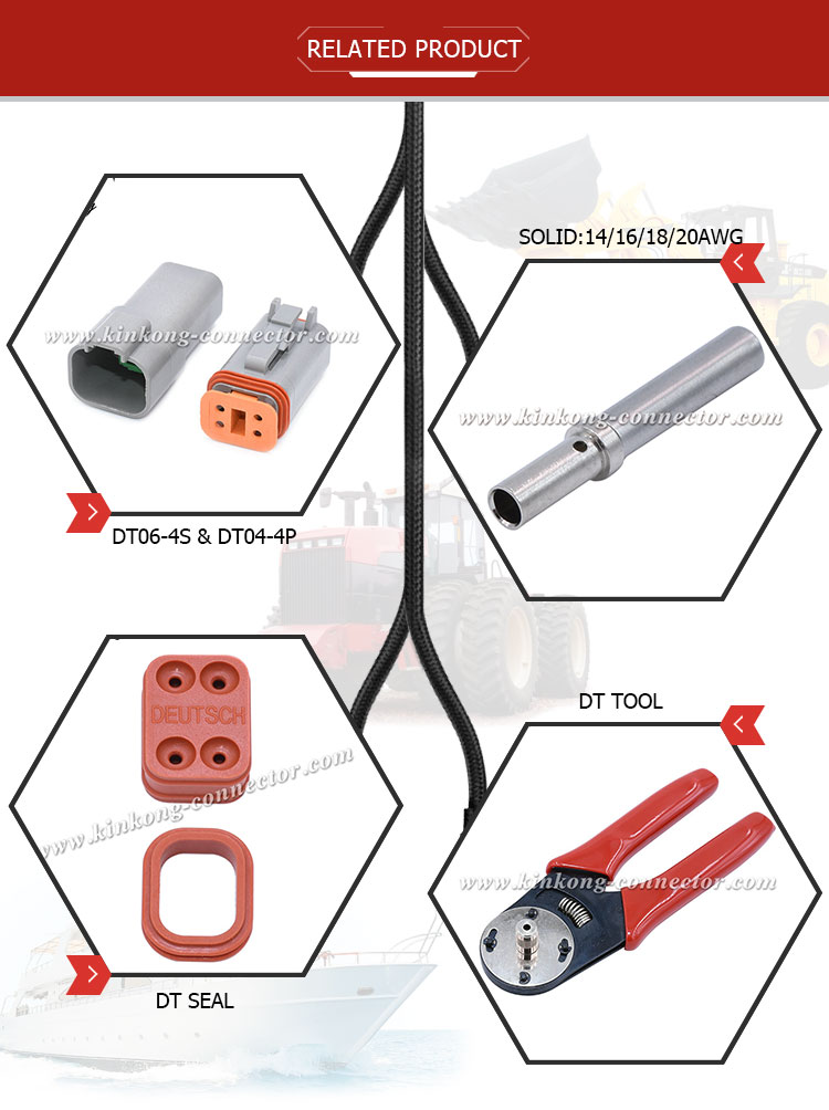 Kinkong Alibaba China Supplier 4 Way Female DT Waterproof Electrical Connector DT06-4S