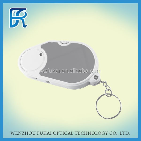 2014 China cheapest optical instruments magnifying glass with keychain and led light