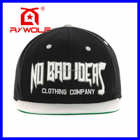 RZWOLF black white embroidery custom short brim snapback hats paypal