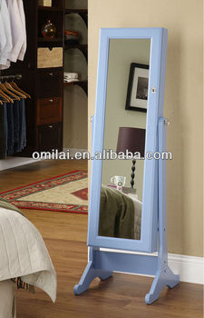 White bedroom mirror with MDF wooden jewelry cabinet