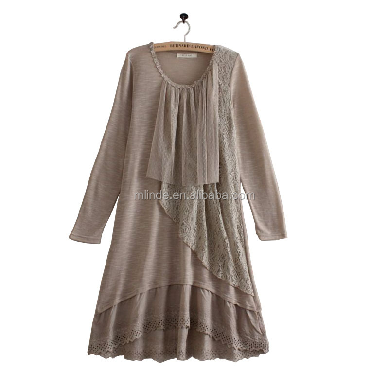 latex old fashion dress designs fat ladies bohemian lyrical branded Long-Sleeve Lace Panel Layered Dress