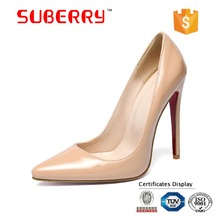 SUBERRY 2017 Red Sole Women 12cm high heels work pumps sexy women shoes big US size red bottom wedding shoes