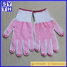10 guage knit double sides PVC dotted grip working glove