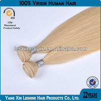 100% human virgin remy unprocessed double weft double drawn cheap 613 blonde hair weave
