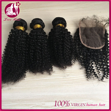 Enought weight malaysian virgin human kinky baby curl hair weave with 4*4 size closure free part for women
