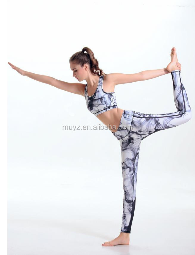 L1176A women sports wear tight women GYM two pieces clothing sets body fitted yoga suits
