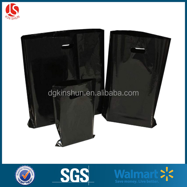 eco-friendly black promotional pe die cut handle shopping bag