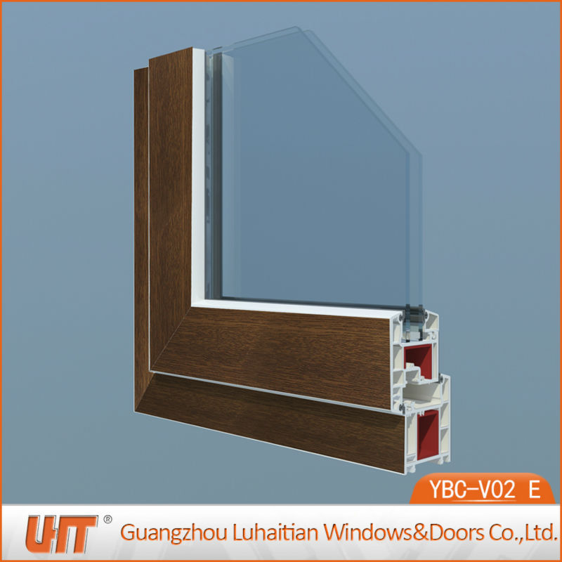wooden grain color open inward pvc windows with decorative grills