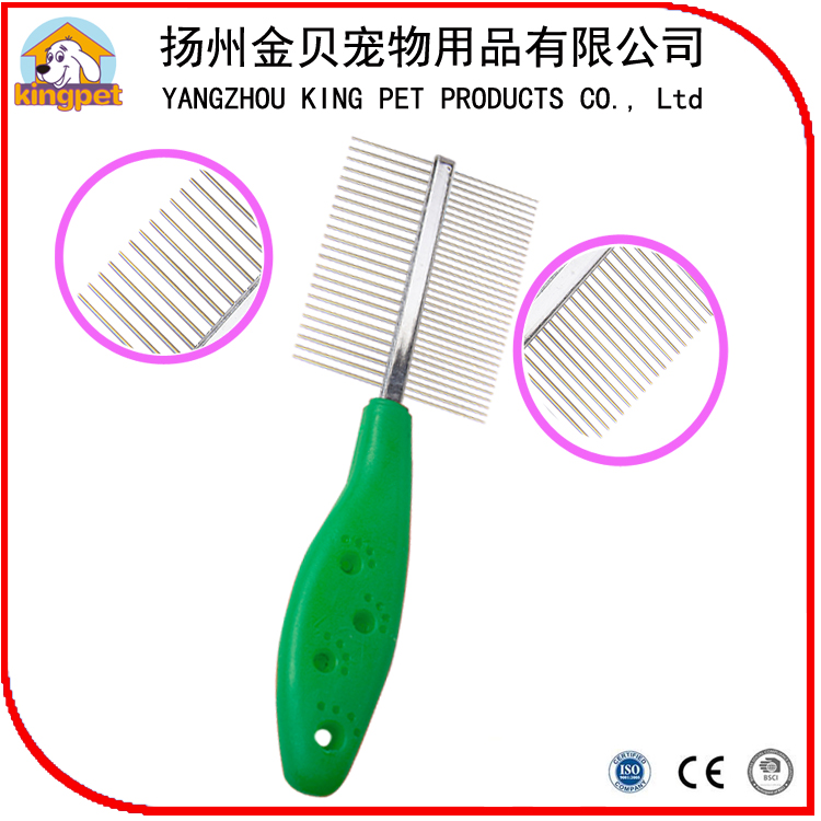Trade assurance factory wholesale metal pins double pet comb for lice flea removal