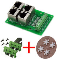 RJ45 8P8C Jack 4-Way Buss Breakout Board with DIN rail mounting foot and panel mounting foot