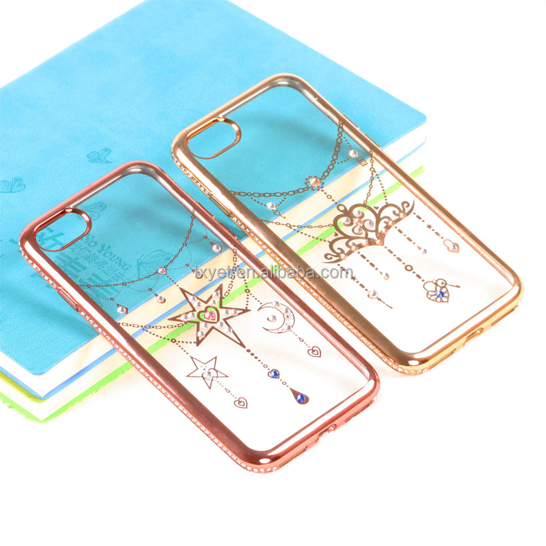 high quality mobile phone tpu back cover for iphone7 wholesale tpu diamond phone case