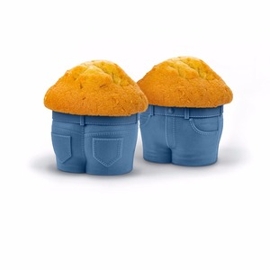 Reusable Silicone Denim Style Muffin Tops Baking Cups, Jean Cupcake Mold,Set of 4