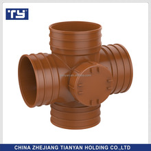 Factory price Manufacturer good quality PVC Fitting UPVC Rubber Joint plastic fitting for drainage GB plane cross 4 wayleft port