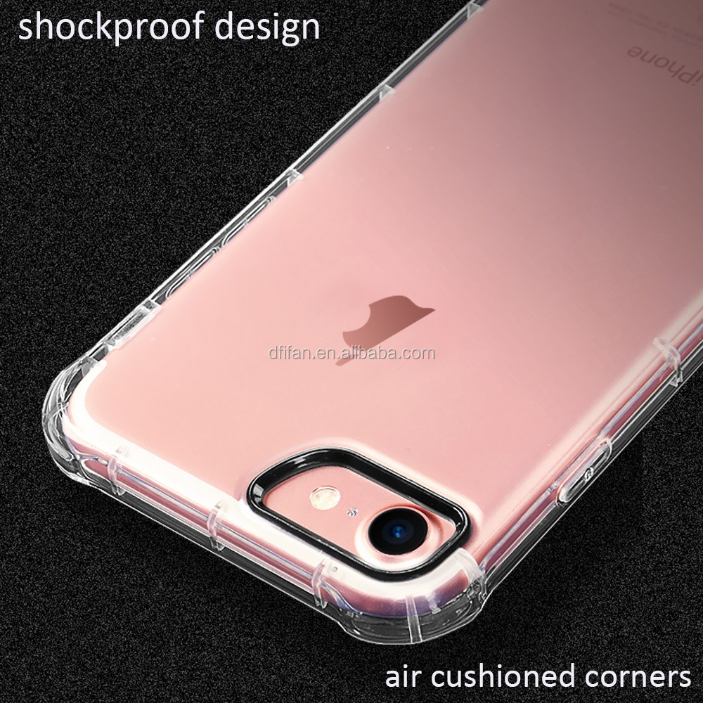 Classic Anti Shock Cover for Mobile Phone,Clear Transparent TPU Shock Proof Case for iPhone7,High Quality Back Cover for Apple
