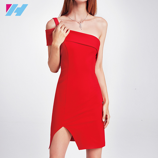 wholesale sexy dress women ladies knee length elegant fashion red formal bodycon dress