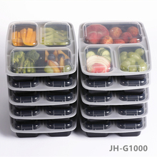BPA free portion control 3 compartment durable Plastic food meal prep bento container