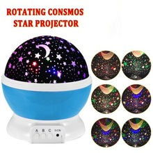 Room Novelty Night Light Projector Lamp Rotary Flashing Starry Star Moon Sky Star Projector Kids Children Baby Lamp