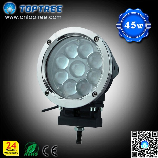 45 Watt Led Working Light Auto Lamp High Lumen Lamp With Chrome Cover