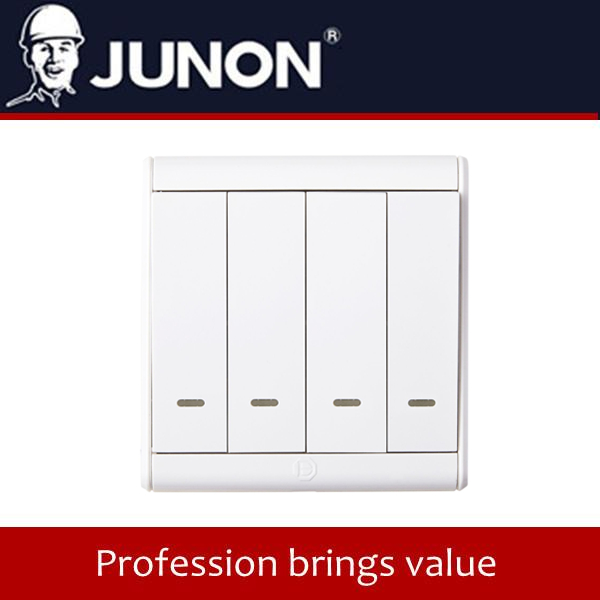 JUNON BK series Four Gang two Way electrical Switch With LED Indicator wall switch