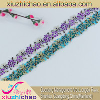 T0220-1-2(1.2) polyester embroidered flower cording lace trim veil trimming