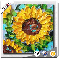 Handpainted thick canvas oil painting sunflower for Modern Living Room Home Wall Decoration