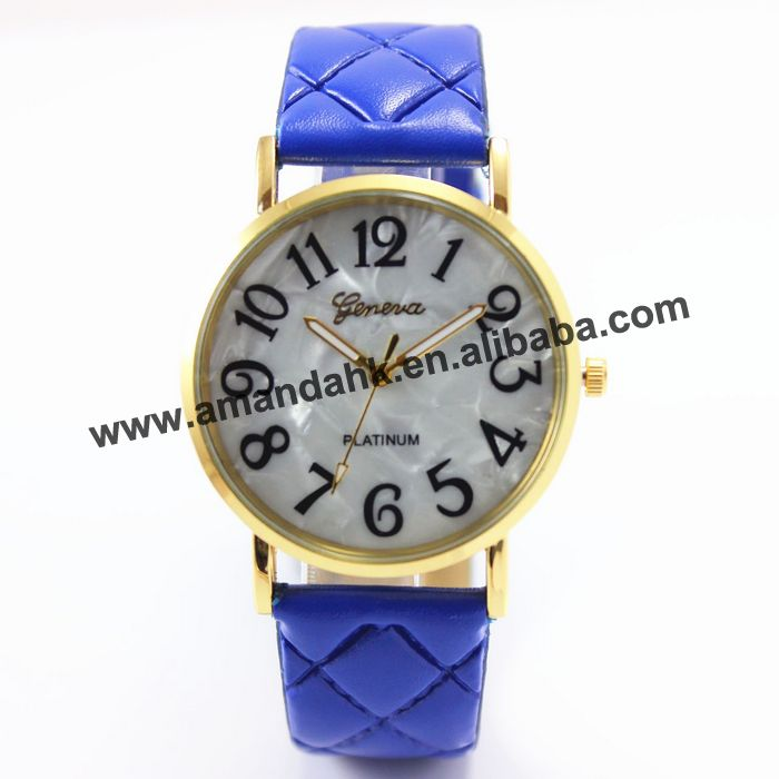 2016 new design leather watch 8002 Fake shell face big black figure Pressure Check quartz watch
