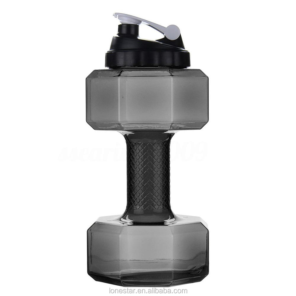 Wholesale high quality 2.2l Dumbbell fitness kettle water bottle/plastic sport water bottle/big shaker water bottle