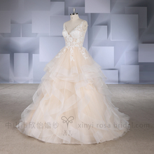 2017 Champagne A Line V neck Lace Ruffled Skirt Wedding Dress